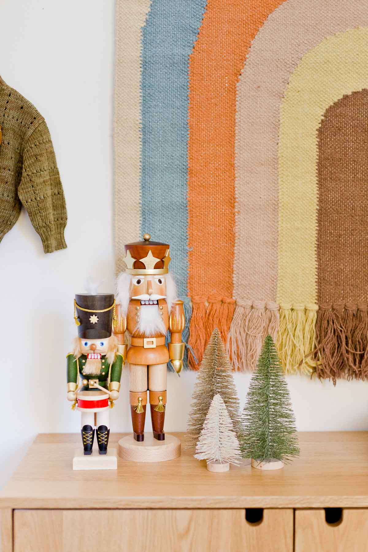 Classic wood nutcrackers for the holidays - decorating a kids room for Christmas!