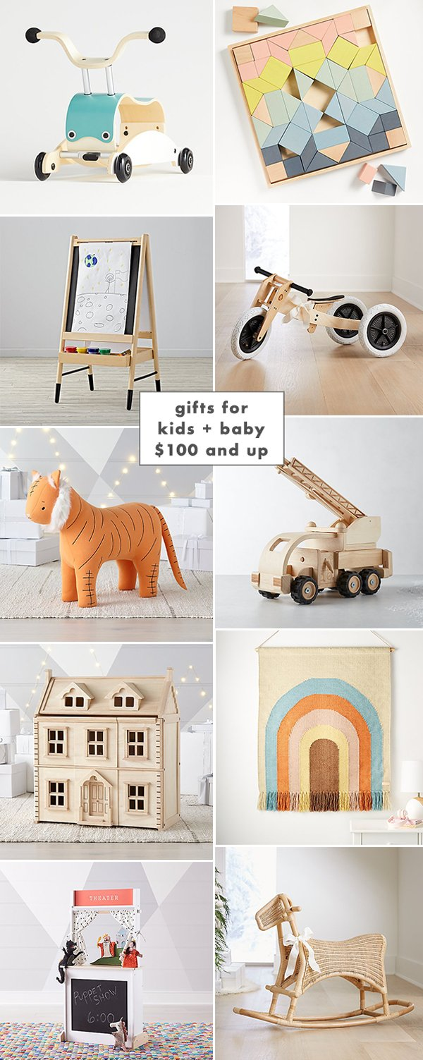 Gift ideas for kids and baby $100 and up. Click through for all 3 gifts guides (including a $30 and under list) too.
