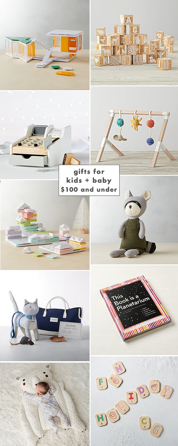 A super cute gift guide for baby and kids gifts under $100!