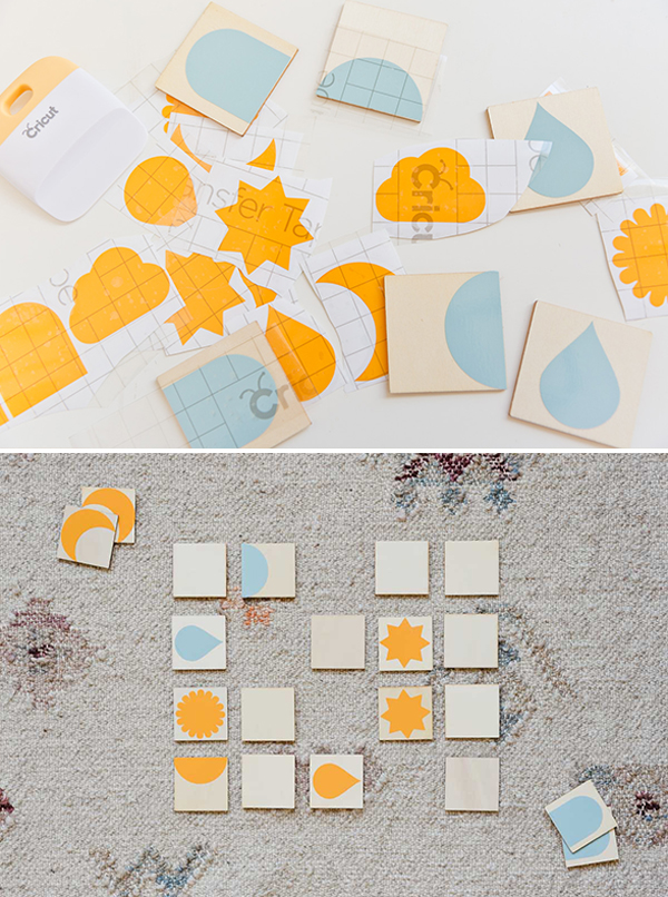 Blue and yellow memory game with simple nature shapes