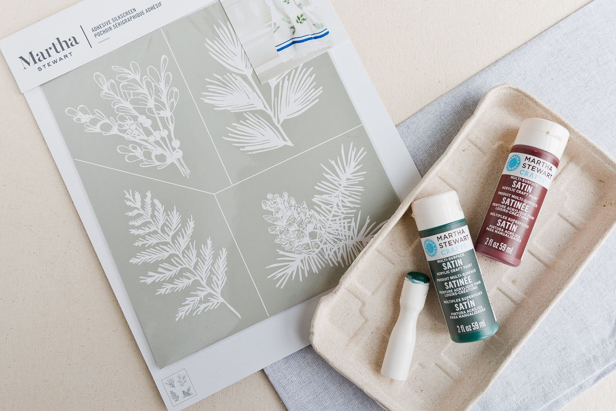 Martha Stewart stencils and paints for hostess gift materials