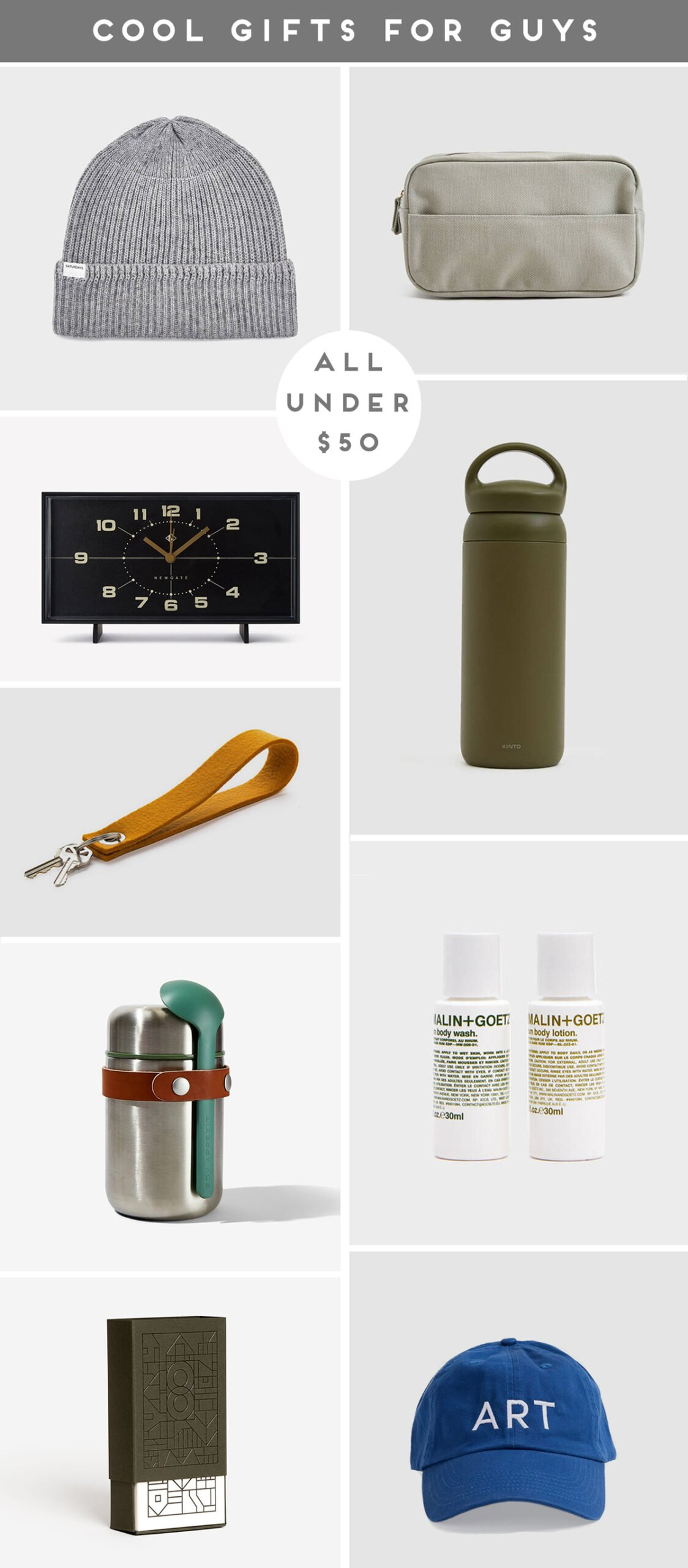 A roundup of cool gifts for guys (all under $50)