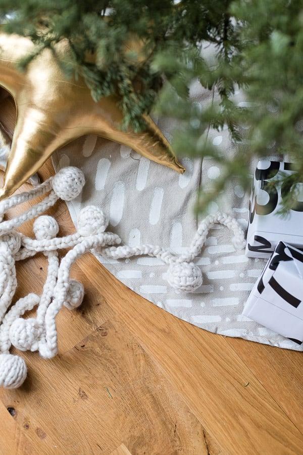 Mud cloth DIY tree skirt for Christmas