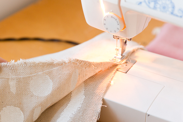 Sewing patchwork pieces together on sewing machine