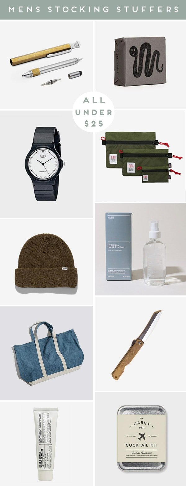 Roundup of men's product images that are cool stocking stuffers for the holidays.