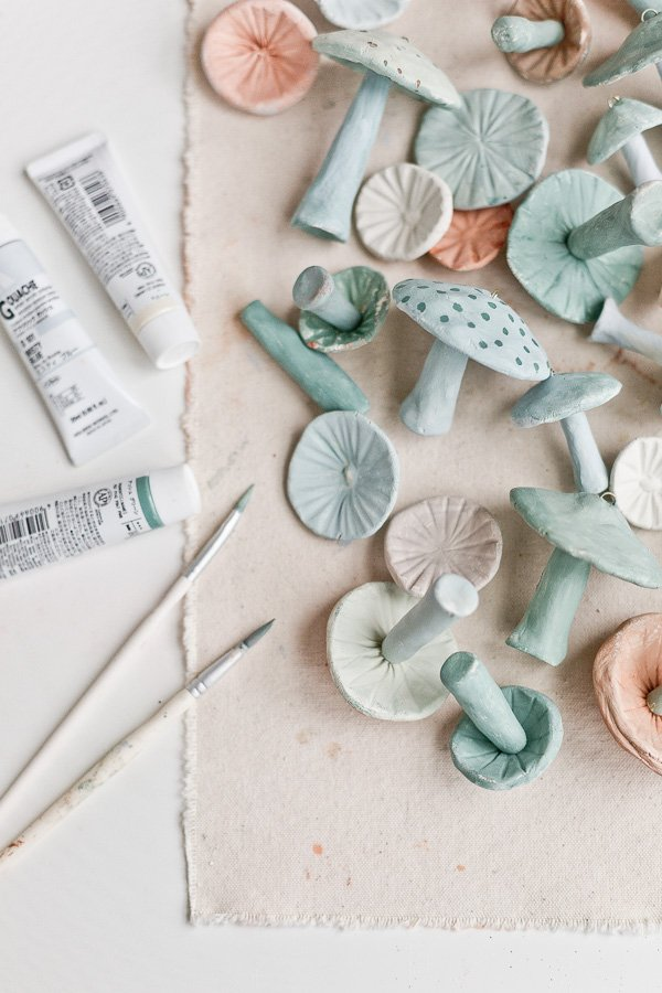 How to Make Clay Mushrooms - paints and mushrooms and paint brushes
