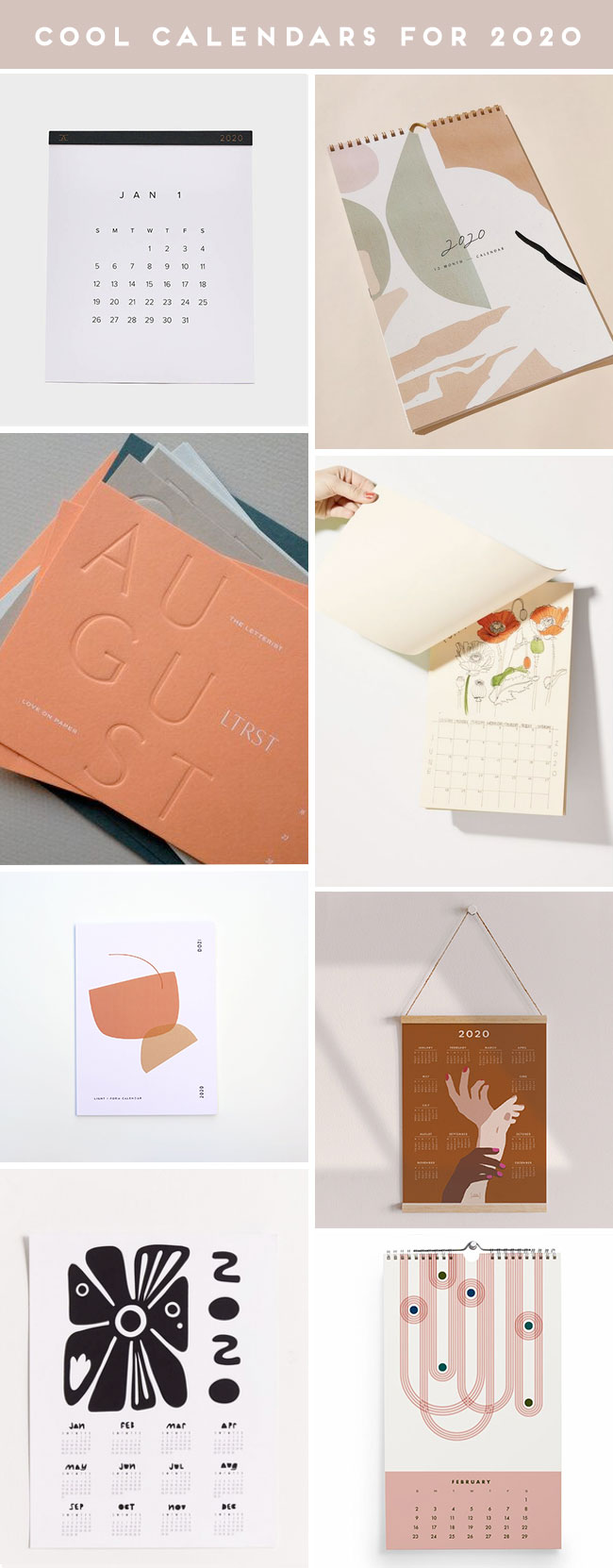 A product roundup of cute calendars for 2020
