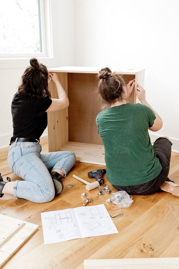 Building IVAR Ikea cabinet for DIY standing desk