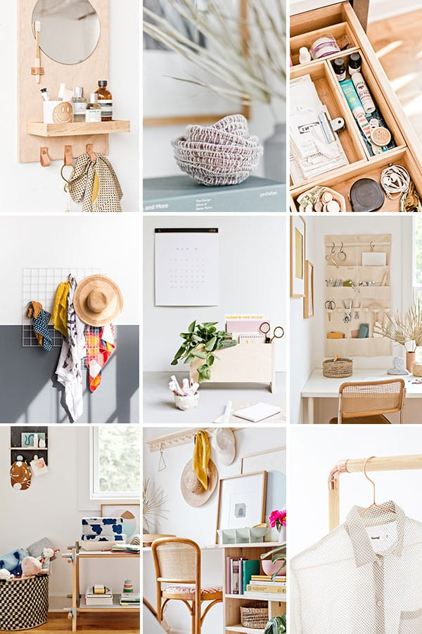Photos of DIY organizational ideas in the home