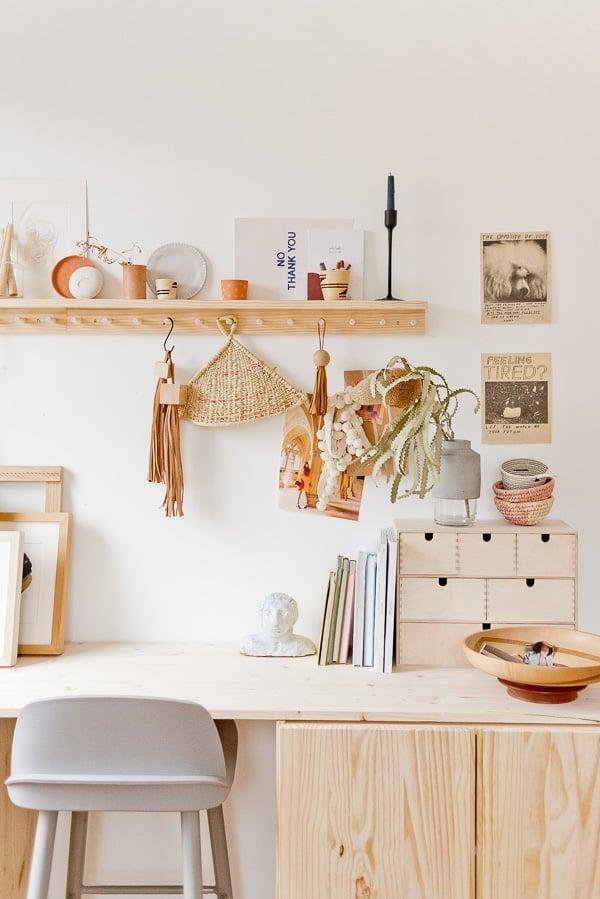 Wood desk idea in light-filled workspace