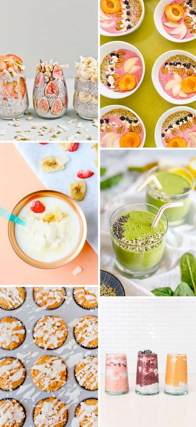 Healthy breakfast ideas, featuring smoothies, bowls, and muffins.