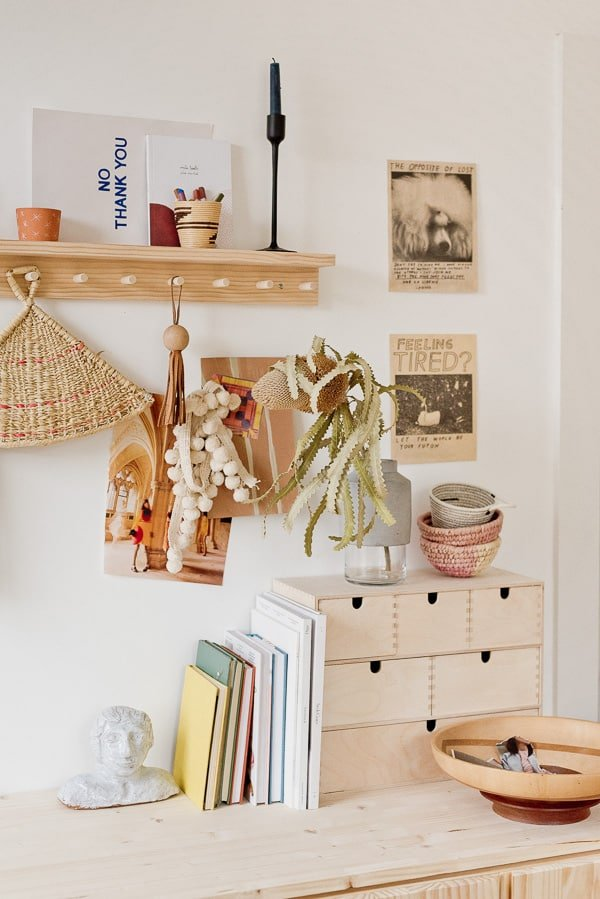 Organized workspace with lots of raw wood details