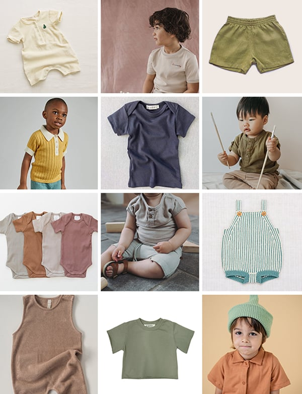 Gender neutral baby clothing in various earthy colors.