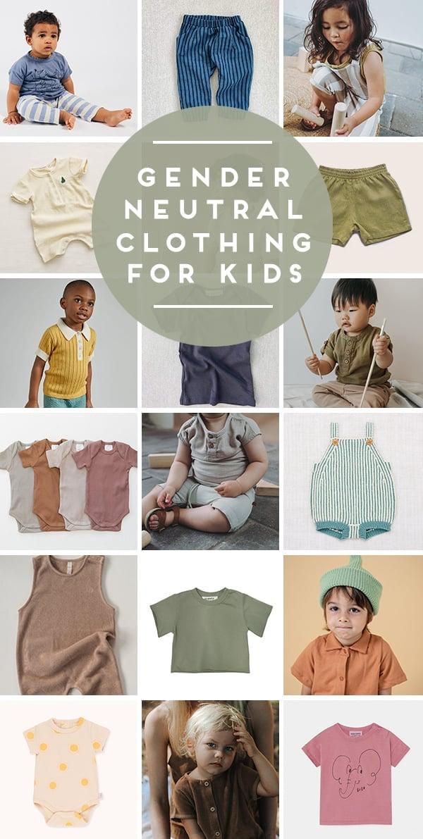 Gender neutral baby clothing in various earthy colors.