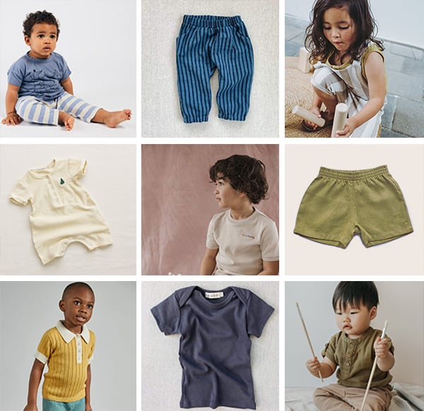 Images of kids and babies wearing gender neutral baby clothing.