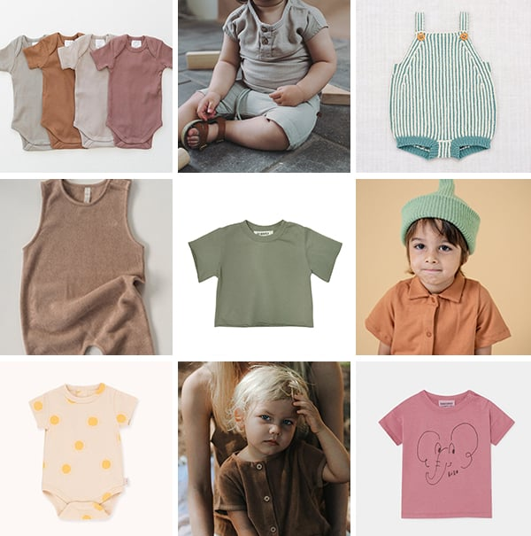 Photos of earthy color baby clothes (and kids clothes).