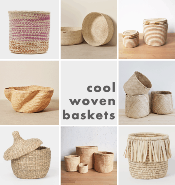 Collage image of woven baskets in different sizes and shapes.