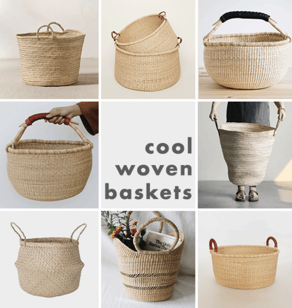 Collage image of woven baskets in different sizes and shapes, with handles.