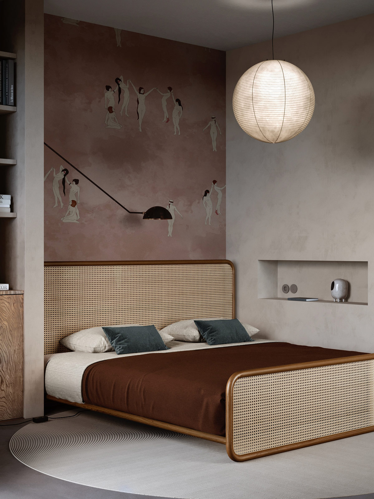 Moody organic modern bedroom with pink wallpaper