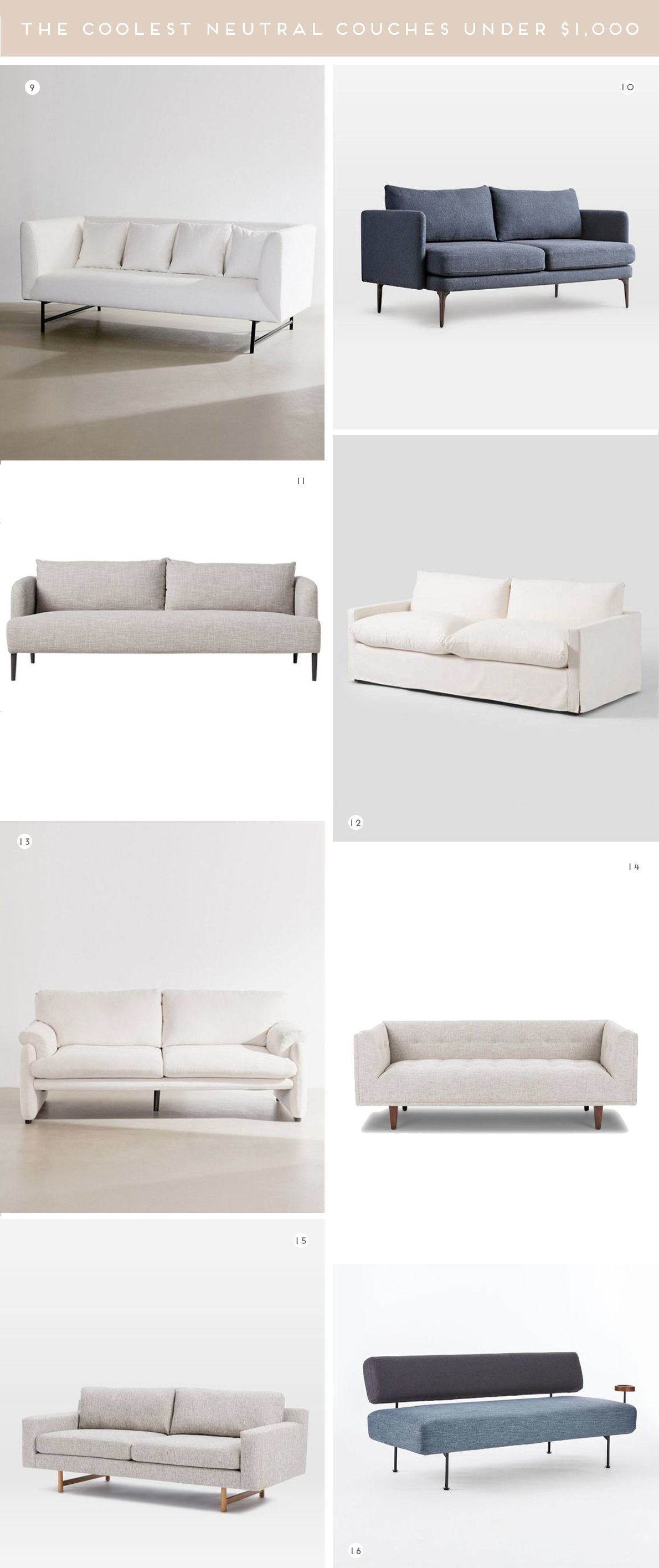 A roundup of the most stylish, modern sofas and coolest couches under $1,000. In white, cream, grey, and blue.