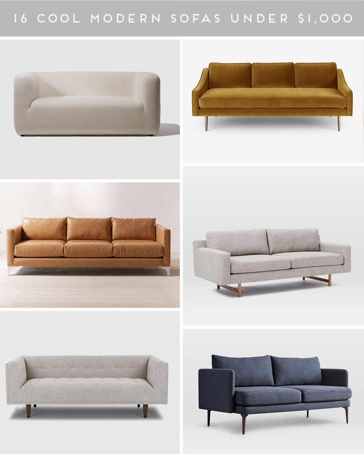 A roundup of the most stylish, modern sofas and coolest couches under $1,000.