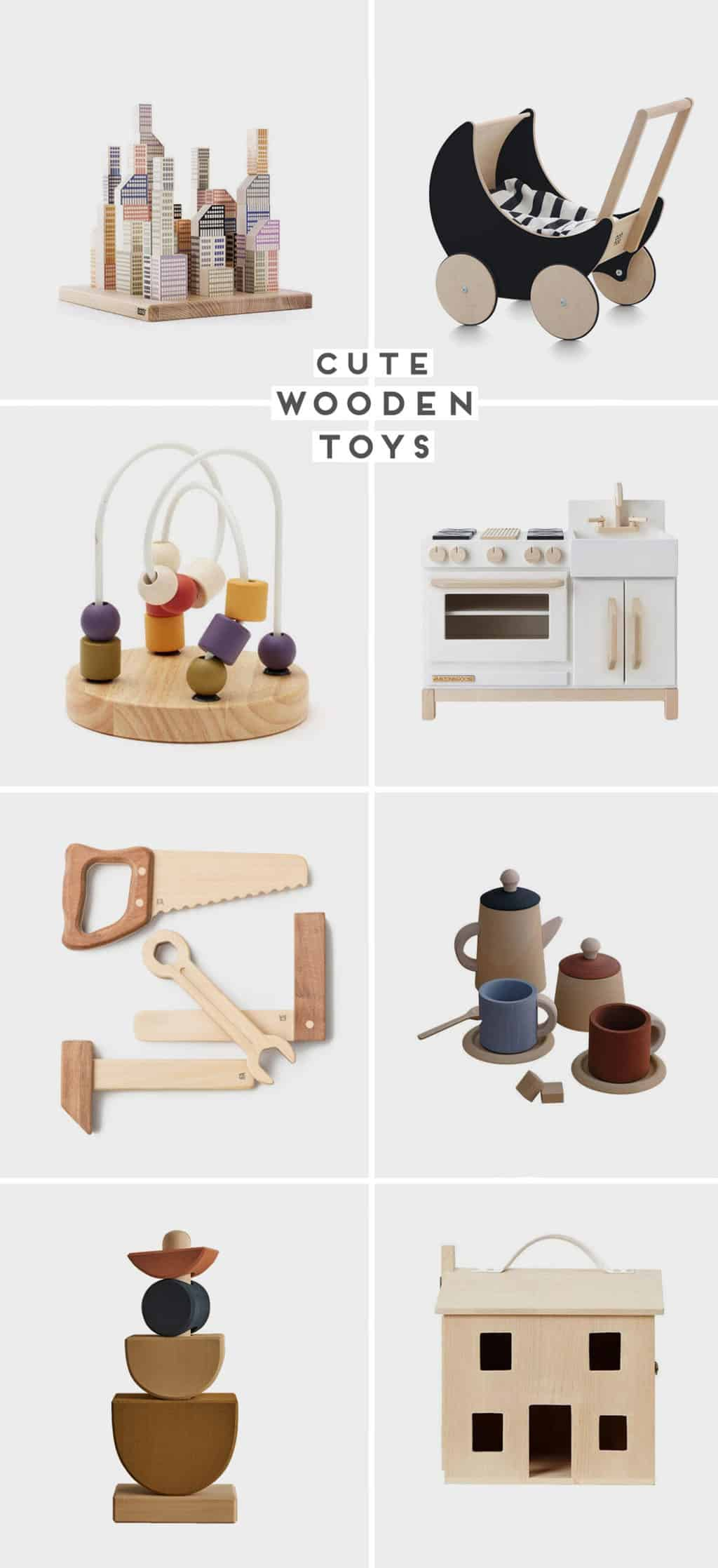 An image of wooden toys for every age range, featuring a dollhouse, tea set, baby stroller, and more.