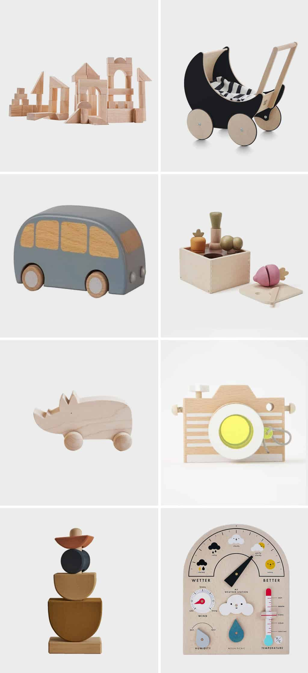 Image of various wooden toys for toddlers, featuring wooden blocks, toy cars, a wooden camera, and more.