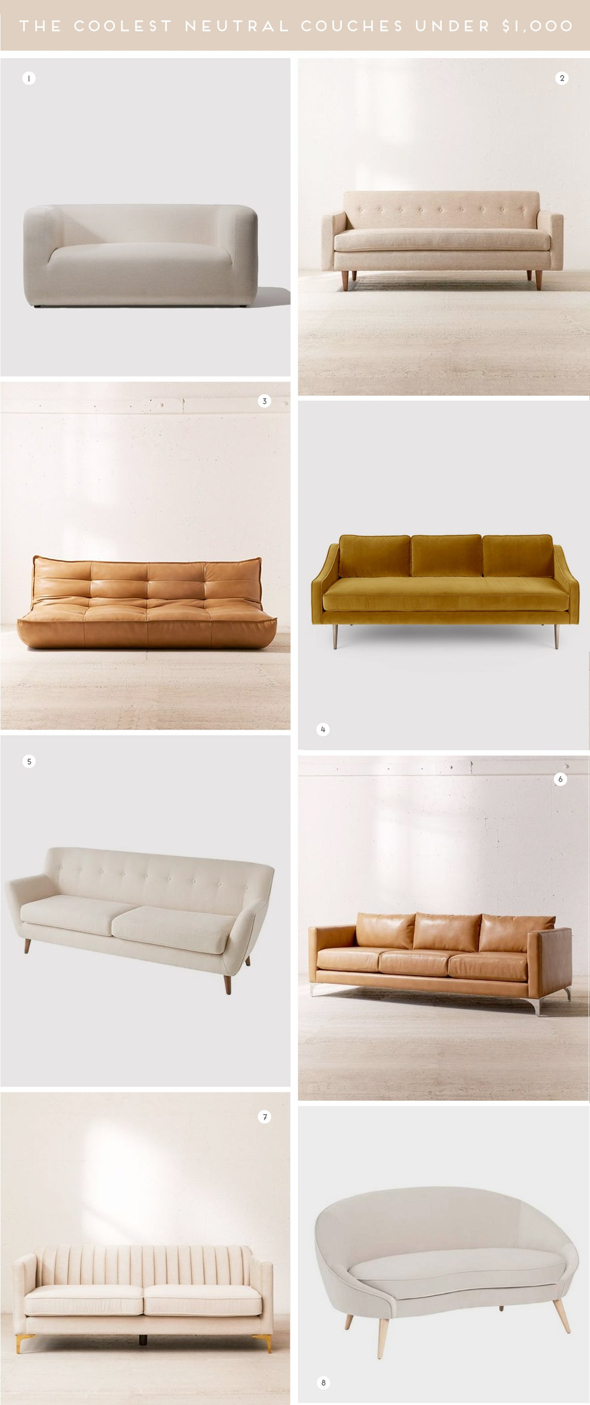 A roundup of the most stylish, modern sofas and coolest couches under $1,000. All neutral colors as well.