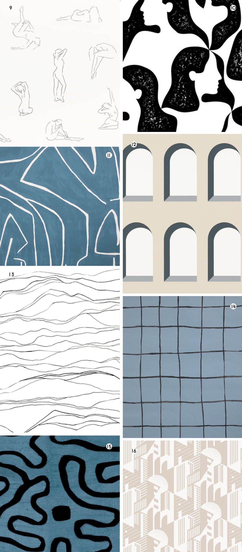 Neutral wallpaper designs in cream, white, and blue