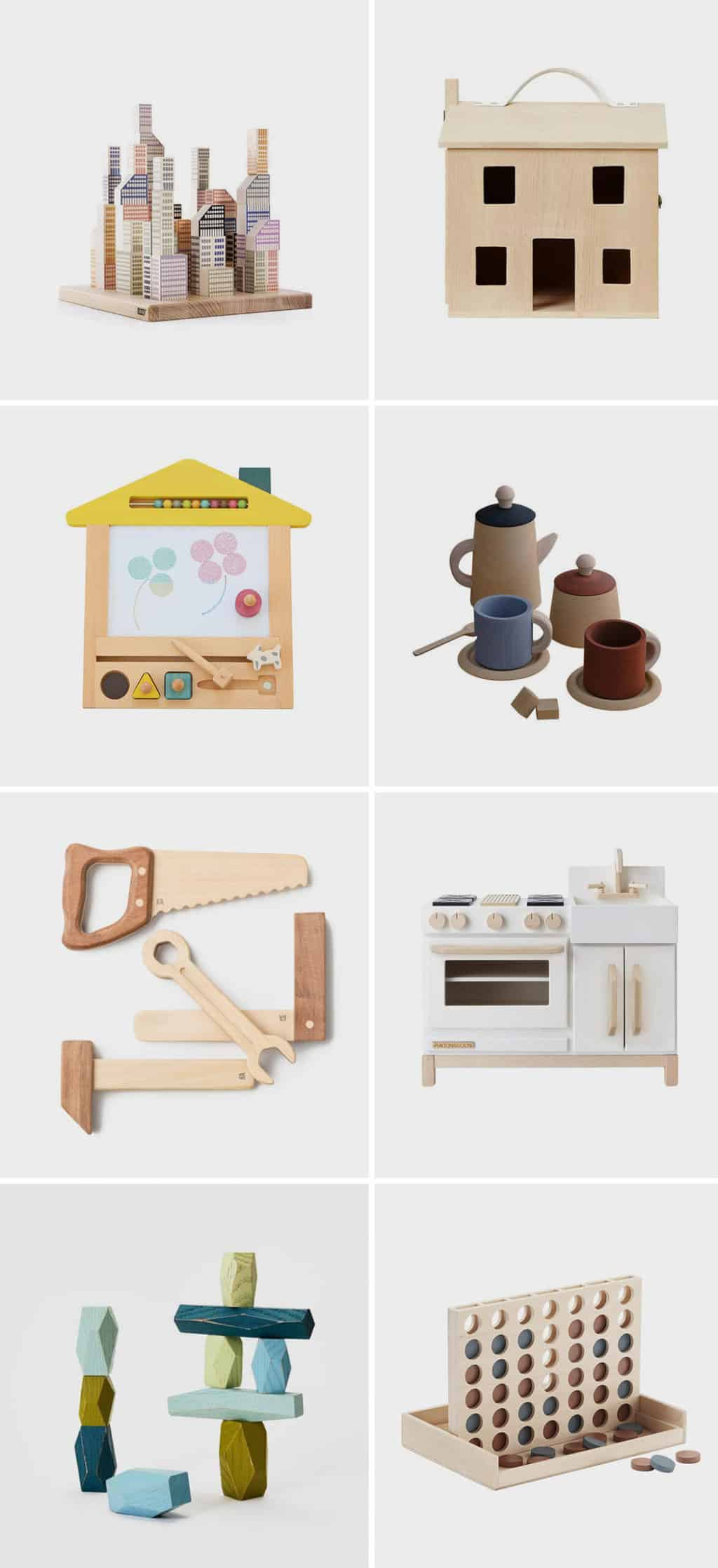 Image of various wooden toys for kids, featuring blocks, a dollhouse, a play kitchen, wood stacking blocks, and more.