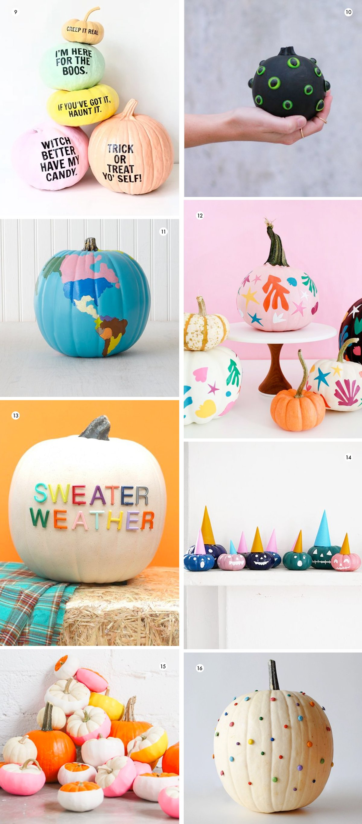 Image of colorful DIY ideas for pumpkin decorating without carving anything