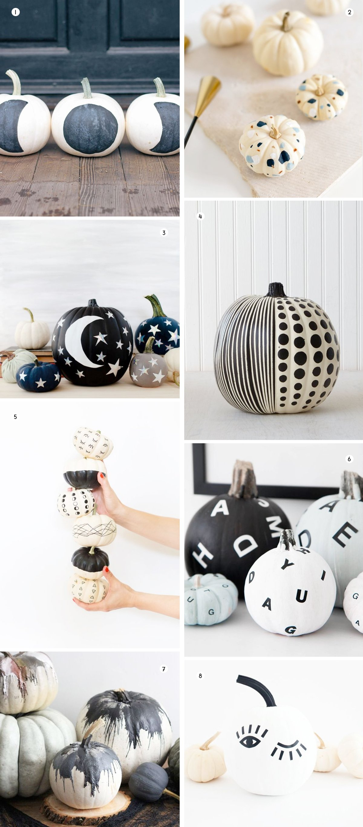 Monochromatic and modern ideas for no-carve pumpkin-decorating