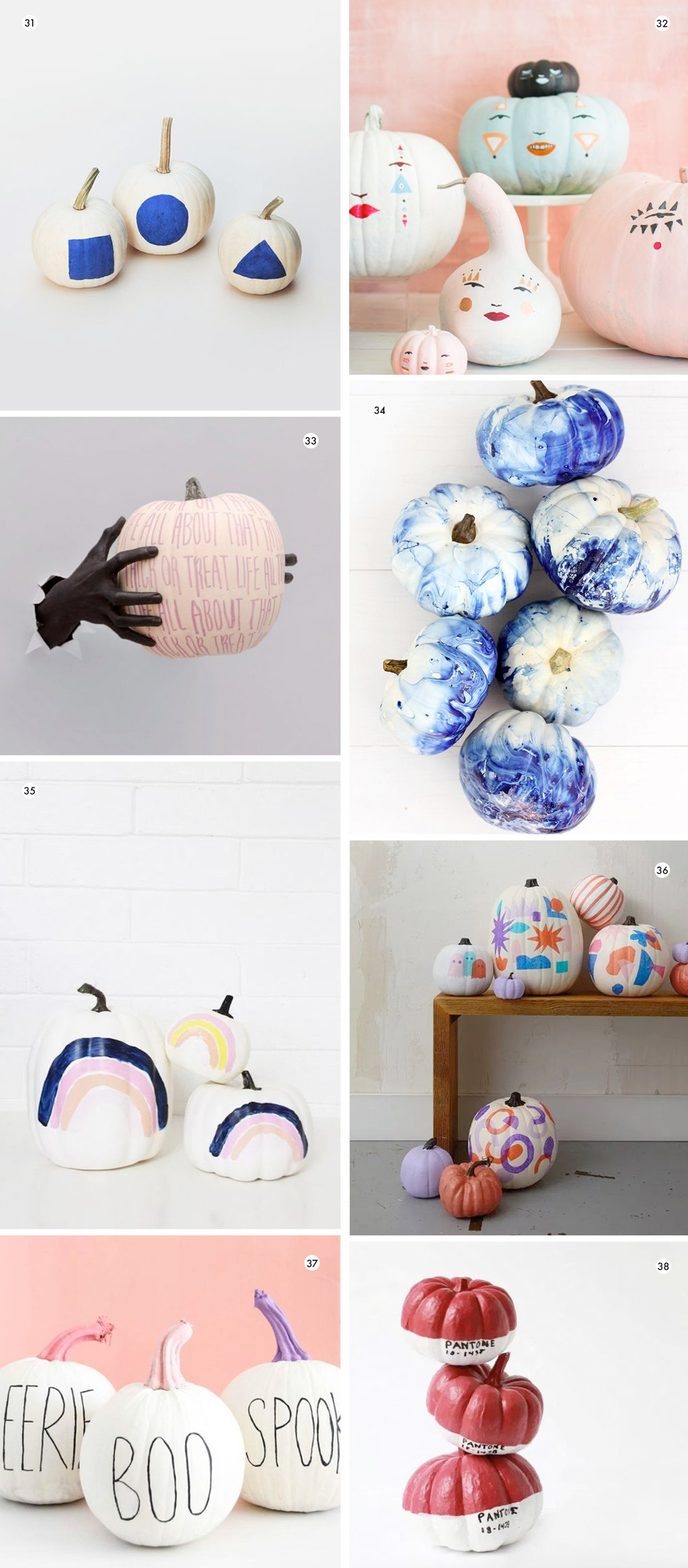Image of various painted pumpkin decorating ideas that are totally DIYable (and easy)