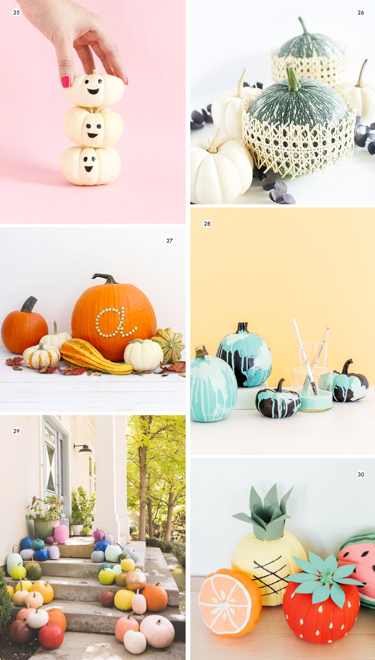 Image of various colorful and clever DIY pumpkin decorating projects (part of a roundup of nearly 40 pumpkin ideas)