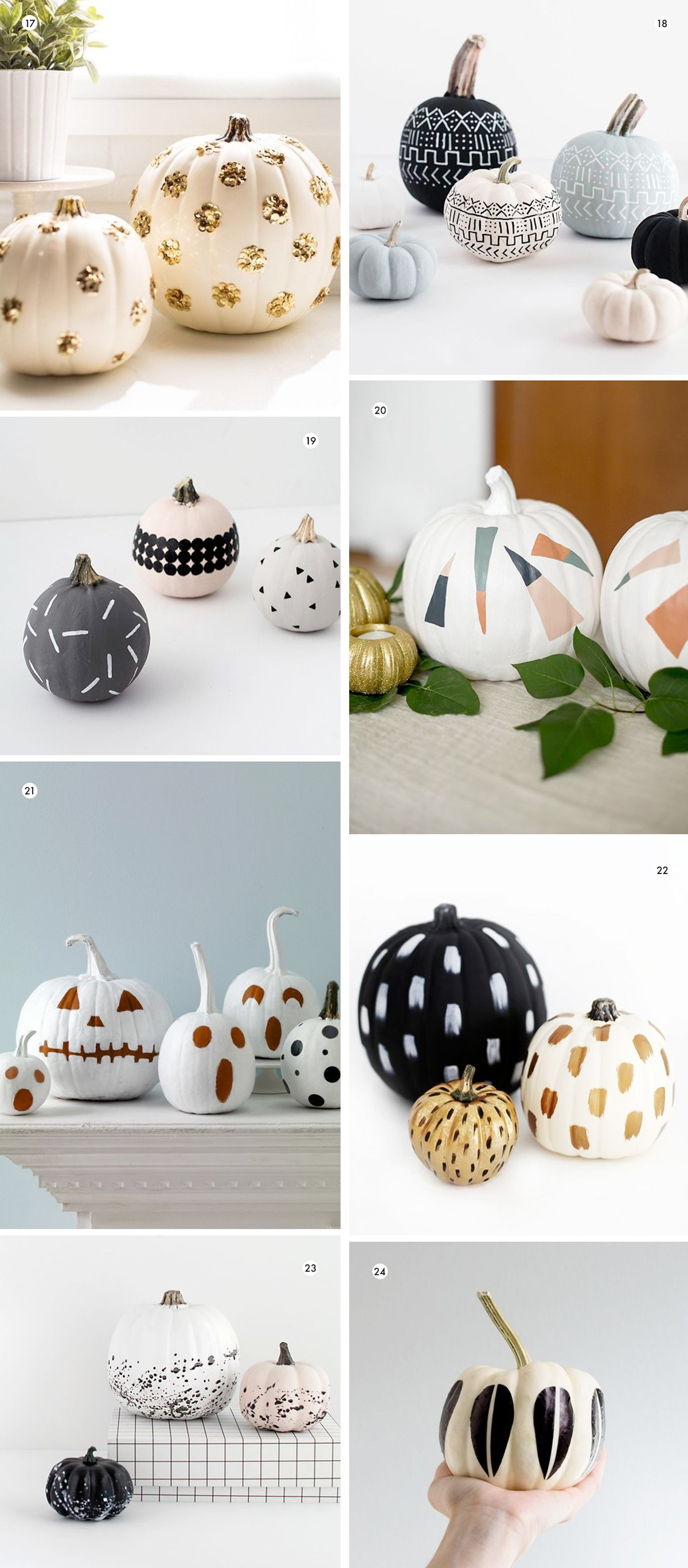 Various no-carve pumpkin decorating ideas for Halloween that are unique and modern