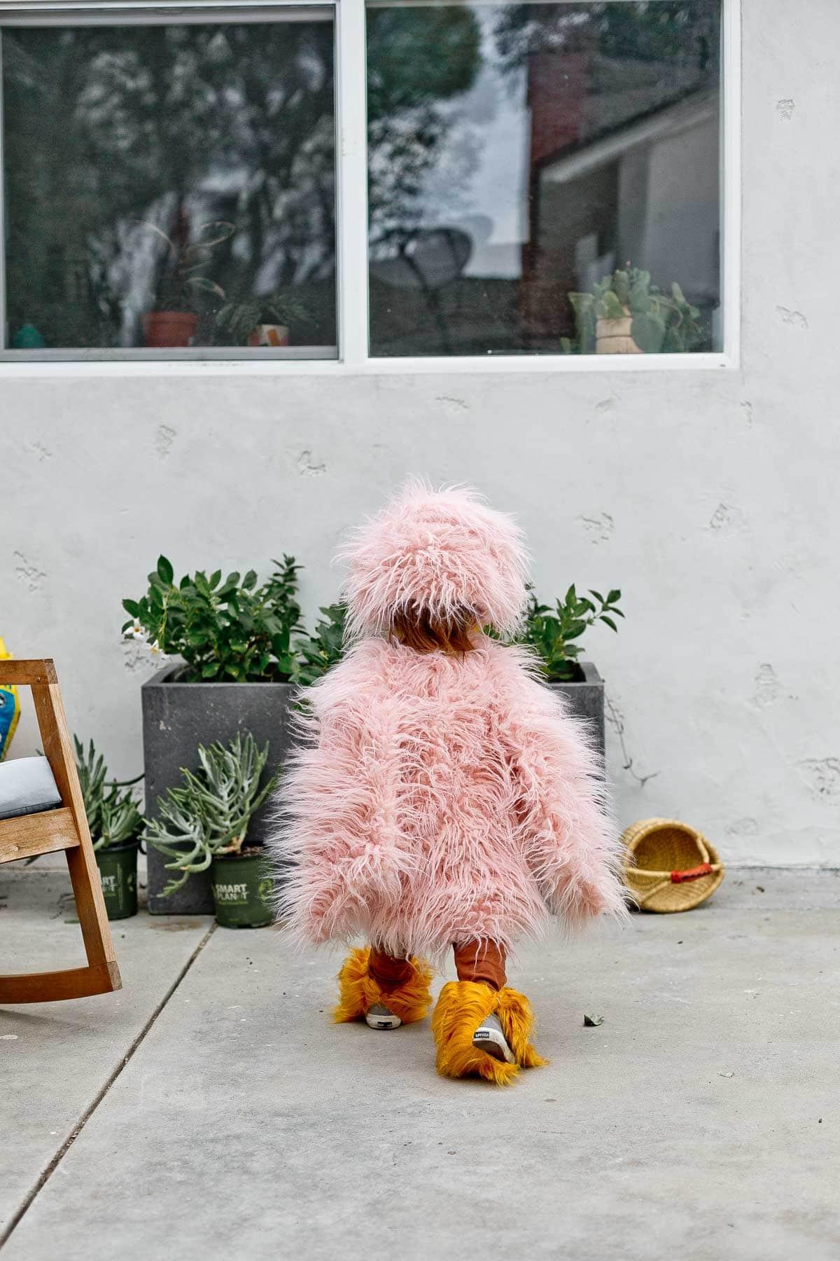 Image of a homemade kids Halloween costume (of a pink bird).