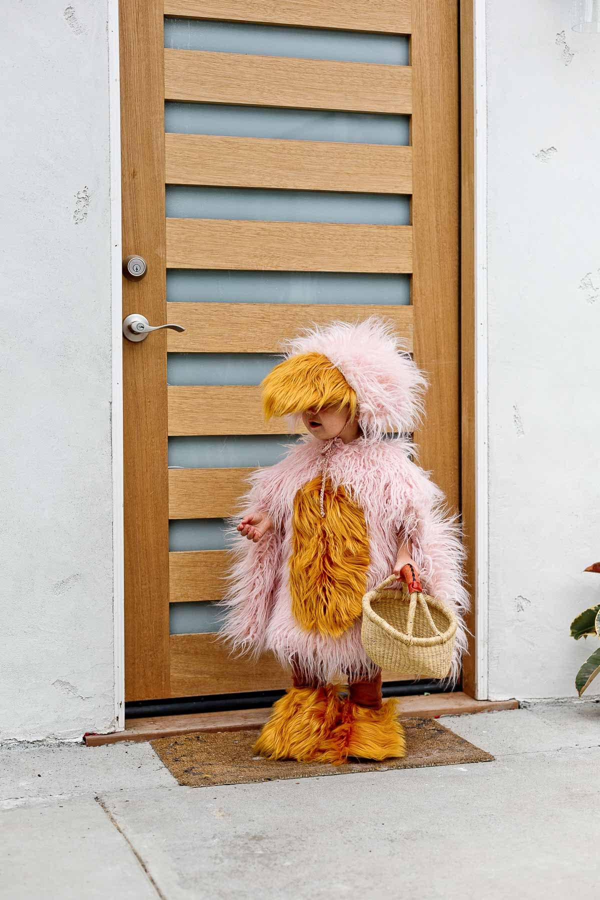 Child wearing a DIY Halloween costume of pink and yellow furry bird.