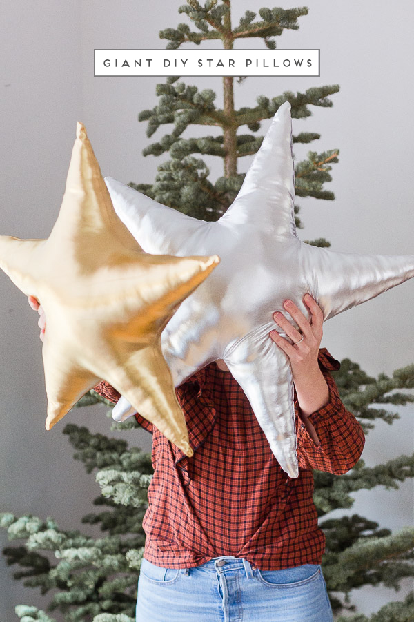 Giant DIY star pillows in metallic silver and gold