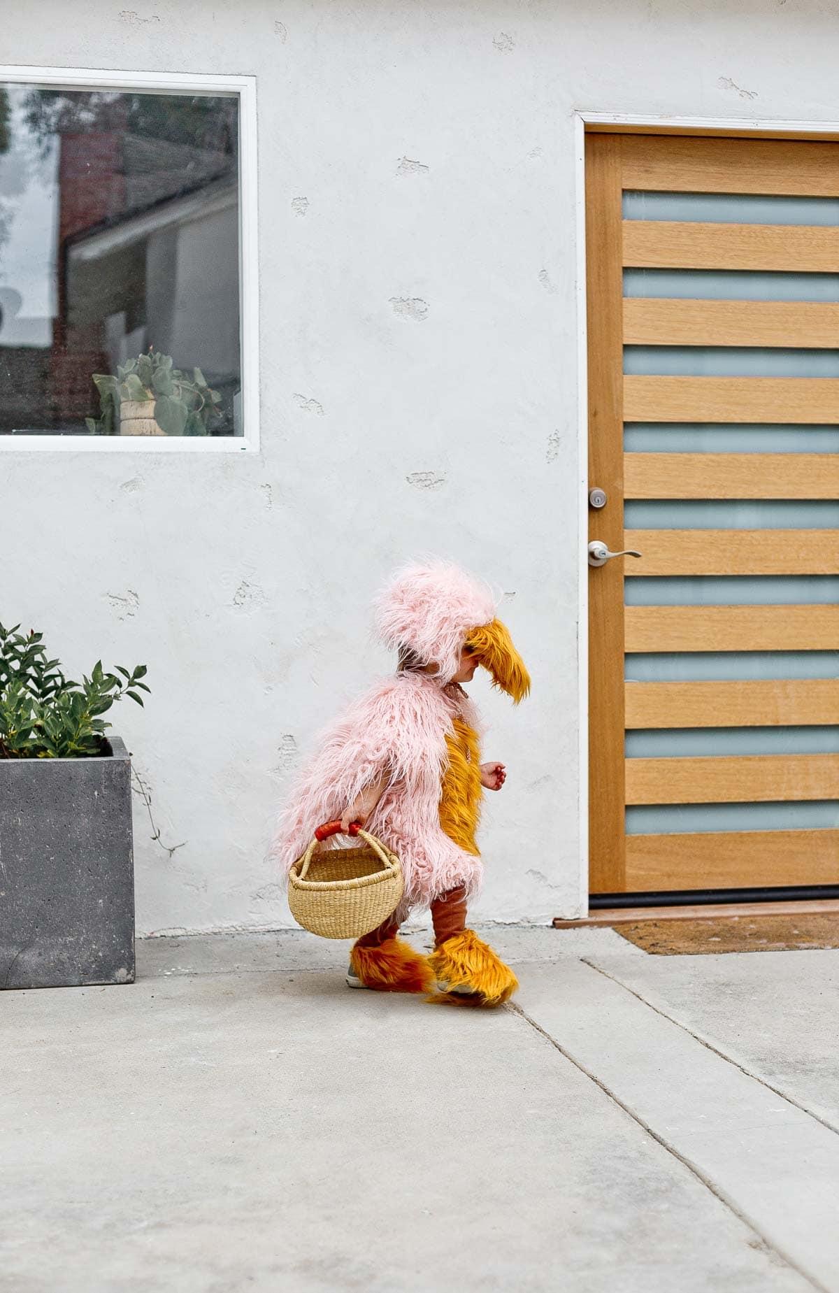 Pink and yellow fluffy handmade bird costume (and tutorial).