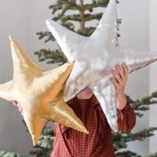 Making Christmas Throw Pillows (DIY Star Pillows)
