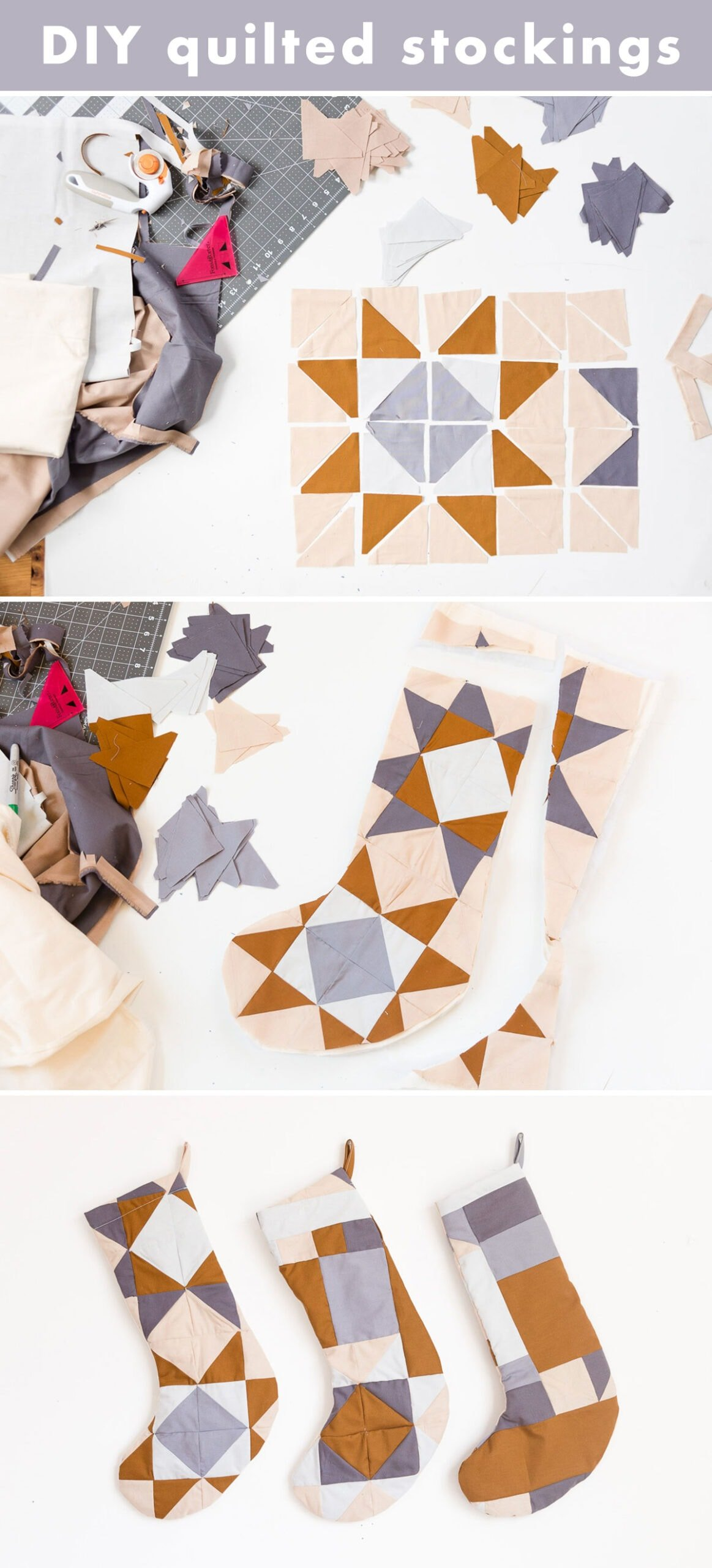 Step by step photos that show how to make a quilted Christmas stocking.