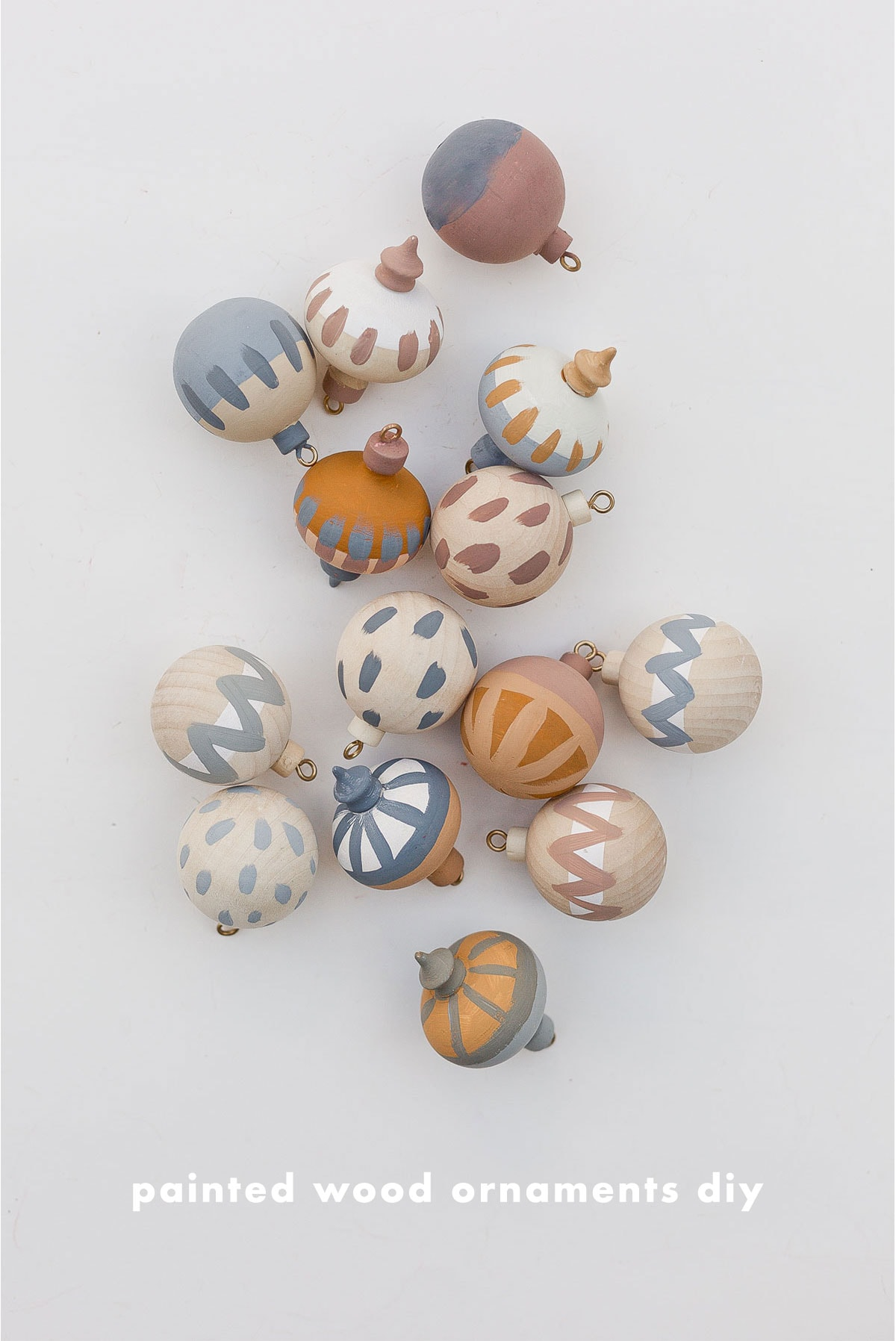 Hand painted wood ornaments in various globe shapes.