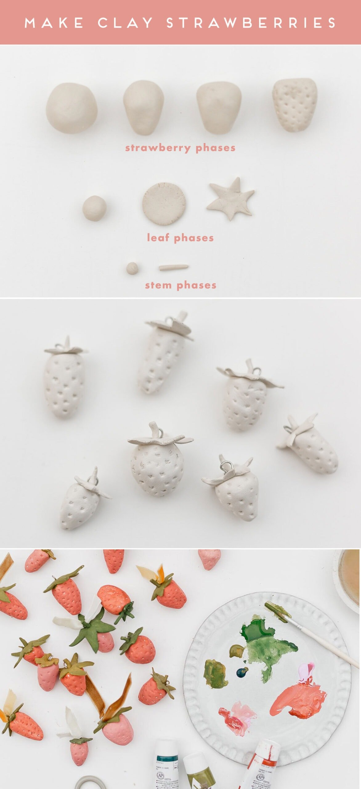 Step by step guide for making clay strawberries.
