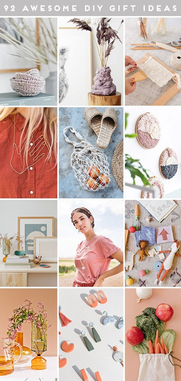 Roundup of images that all depict DIY gift ideas for women and the home.