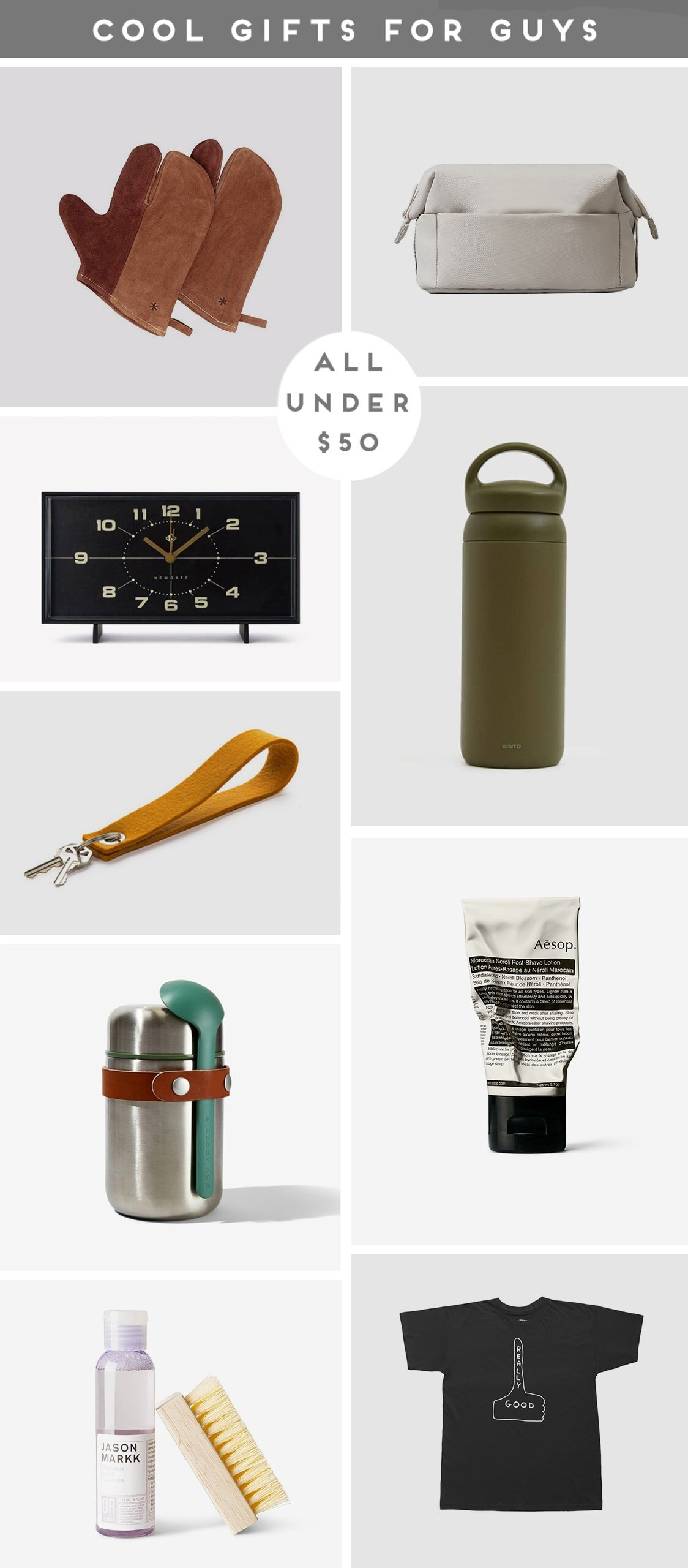 A roundup of photos that feature cool gifts for guys (all under $50).