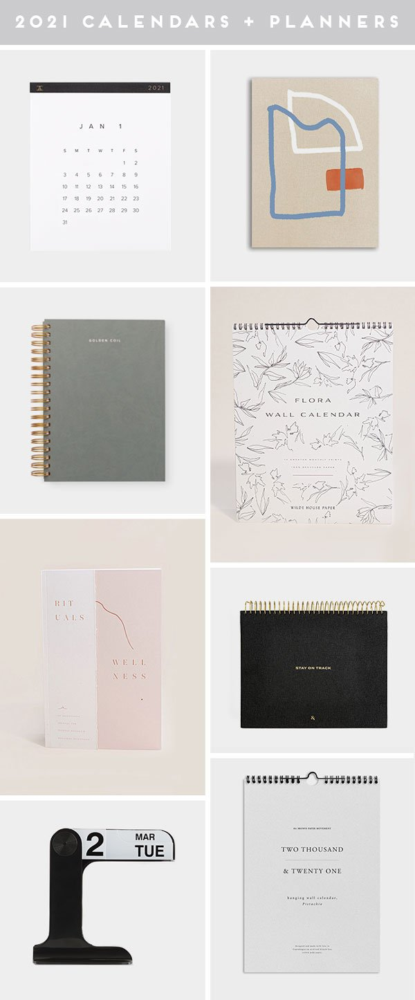 Images of cool calendars and cute planners for 2021.