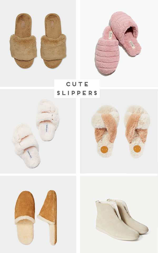 Image roundup of women's slippers in various neutral colors.