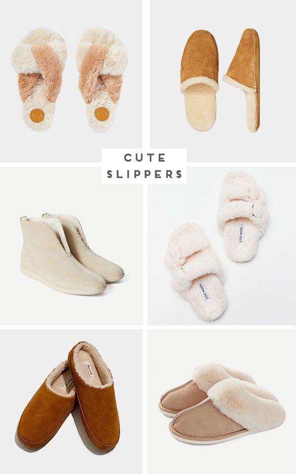 Images of neutral, modern women's slippers.