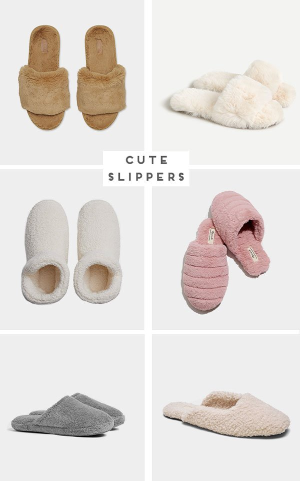 Roundup of images that feature different slipper styles for women.