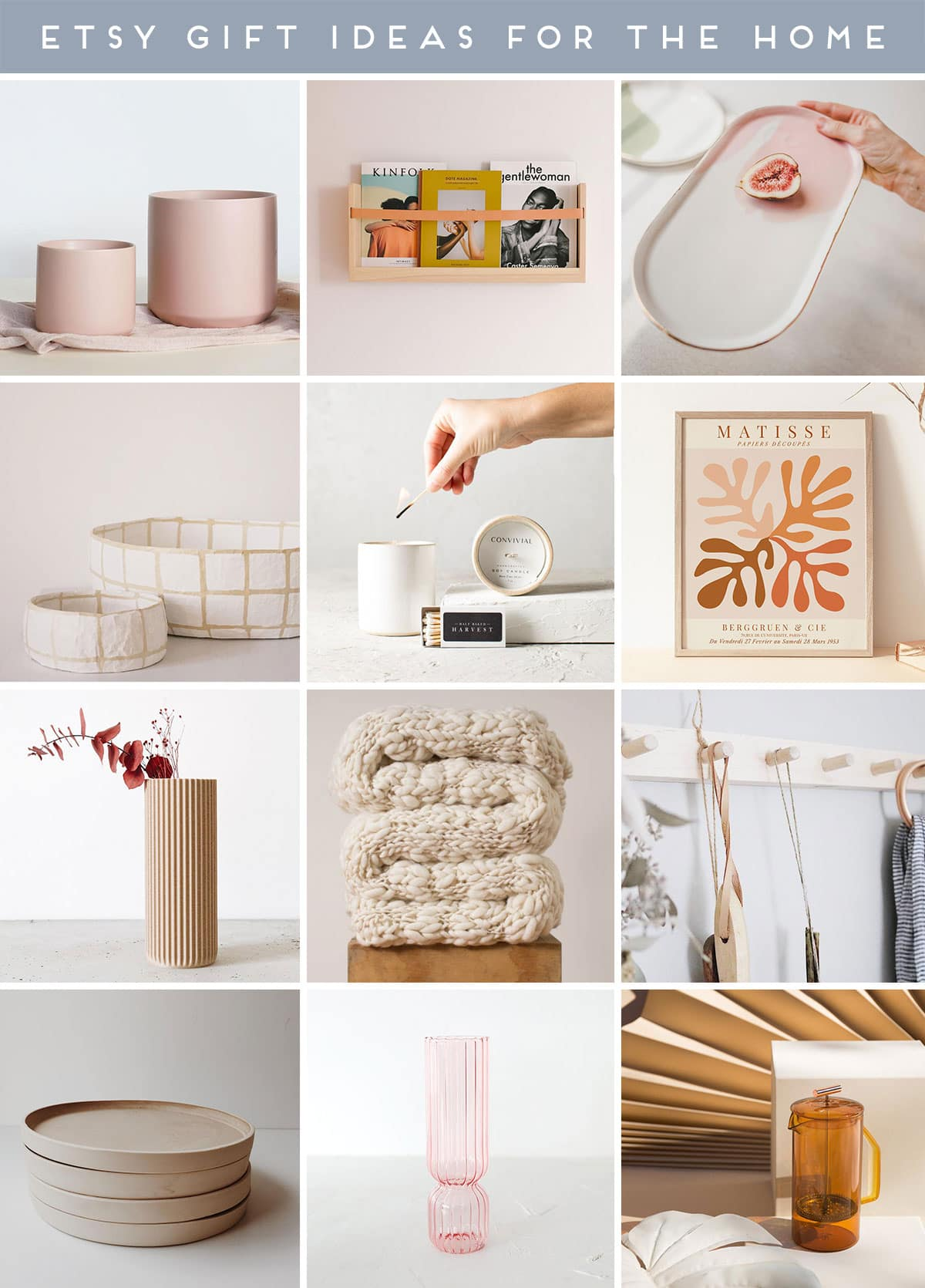 Roundup image of home decor items - all from Etsy